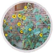 Wall Of Sunflowers 1 Round Beach Towel