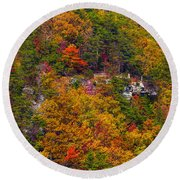 Wall Of Trees Round Beach Towel