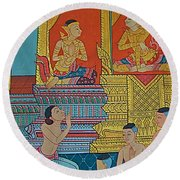 Wall Painting 2 In Wat Po In Bangkok-thailand Round Beach Towel