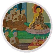 Wall Painting 3 In Wat Po In Bangkok-thailand Round Beach Towel