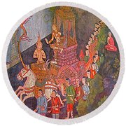 Wall Painting At Wat Suthat In Bangkok-thailand Round Beach Towel