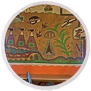 Wall Painting In Painted Desert Inn Cafe In Petrified Forest National Park-arizona  Round Beach Towel