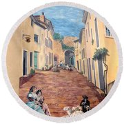 Wall Painting In Provence Round Beach Towel