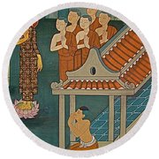 Wall Painting In Wat Po In Bangkok-thailand Round Beach Towel