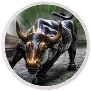 Wall Street Bull Round Beach Towel