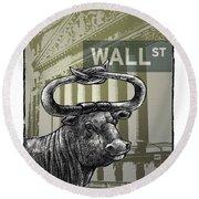Wall Street Round Beach Towel