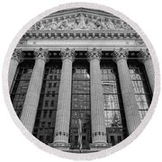 Wall Street New York Stock Exchange Nyse Bw Round Beach Towel