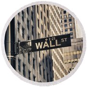Wall Street Sign Round Beach Towel
