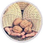 Wallnuts Round Beach Towel