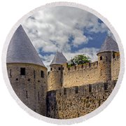 Walls Of Carcassonne Round Beach Towel