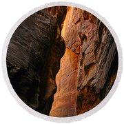 Wallstreet - The Narrows In Zion National Park. Round Beach Towel