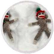 Wally And Petey Snow Angels Round Beach Towel