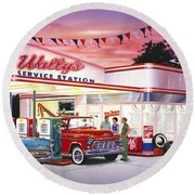 Wallys Service Station Round Beach Towel