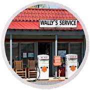 Wally's Service Station Mayberry Nc Round Beach Towel