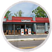 Wallys Service Station Mt. Airy Nc Round Beach Towel