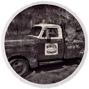 Wally's Towing Bw Round Beach Towel