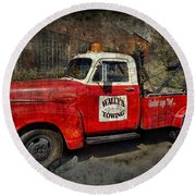 Wally's Towing Round Beach Towel by David Arment