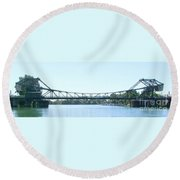 Walnut Grove Bridge Mural Round Beach Towel