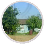 Walnut Grove - Typical Rural Farm House Round Beach Towel