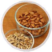 Walnuts And Almonds Round Beach Towel