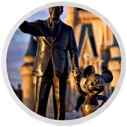 Walt And Mickey Round Beach Towel