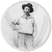 Walt Whitman Frontispiece To Leaves Of Grass Round Beach Towel by American School