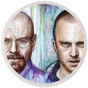 Walter And Jesse - Breaking Bad Round Beach Towel by Olga Shvartsur