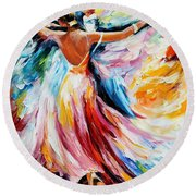 Waltz - Palette Knife Oil Painting On Canvas By Leonid Afremov Round Beach Towel