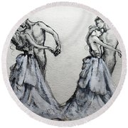 Waltzing With You Round Beach Towel