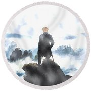 Wanderer Above The Sea Of Fog Round Beach Towel