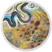 Wandering In Thought2 Original Abstract Colorful Landscape Painting For Sale Yellow Blue Green Round Beach Towel