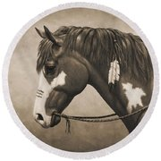 War Horse Aged Photo Fx Round Beach Towel