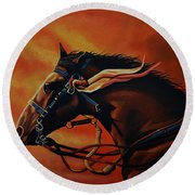 War Horse Joey  Round Beach Towel by Paul Meijering