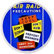 War Poster - Ww2 - Air Raid Round Beach Towel