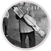 War Time On The Golf Course Round Beach Towel