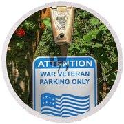 Veteran Parking Sign Round Beach Towel