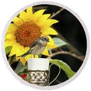 Sunflower And Warbler Bird Round Beach Towel