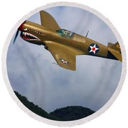 Warhawk Curtiss P-40  Round Beach Towel