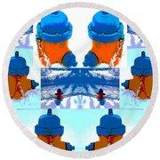 Warhol Firehydrants Round Beach Towel