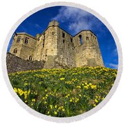 Warkworth Castle In Spring Round Beach Towel