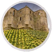 Warkworth Castle In The Sky Round Beach Towel