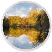 Warkworth Castle Reflected Round Beach Towel