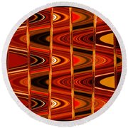 Warm Colors Lines And Swirls Abstract Round Beach Towel