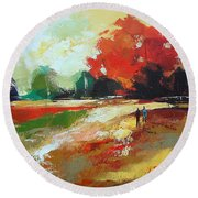 Warm Fall Day 2 Round Beach Towel