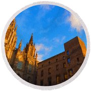 Warm Glow Cathedral - Impressions Of Barcelona Round Beach Towel