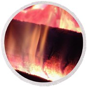 Warm Glowing Fire Log Round Beach Towel