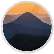 Warm Mountain Layers Round Beach Towel