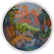 Warm Summer Afternoon 2 Round Beach Towel