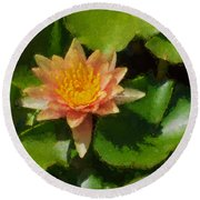 Warm Yellows Oranges And Corals - A Waterlily Impression Round Beach Towel