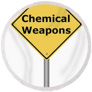 Warning Sign Chemical Weapons Round Beach Towel